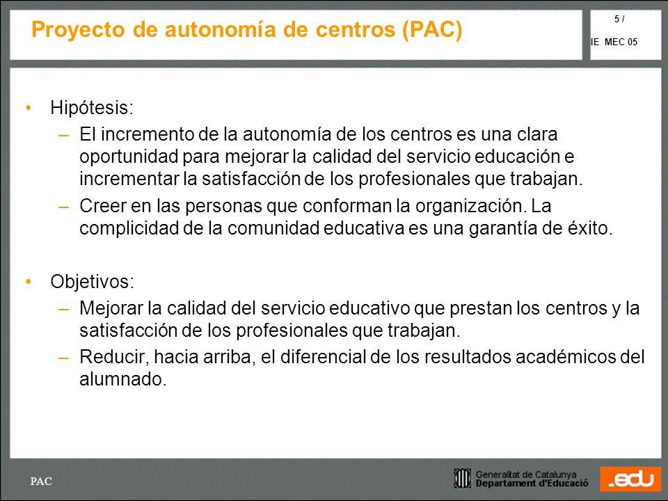 PAC IE MEC 05 5 / Proyecto de autonomía de centros (PAC) Hipótesis: –El incremento de la autonomía de los centros es una clara oportunidad para mejora
