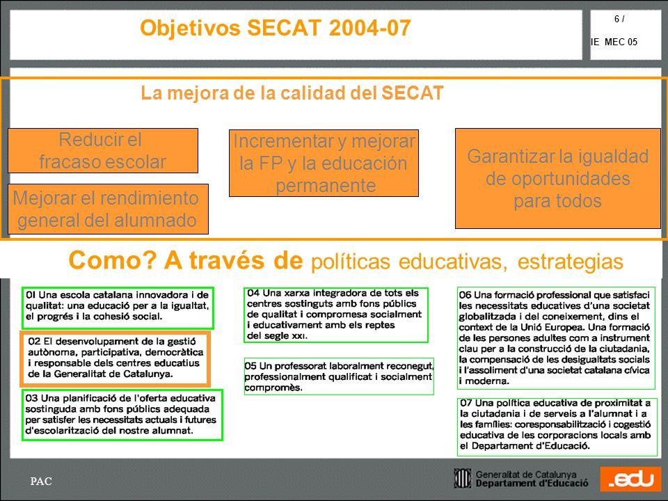 PAC IE MEC 05 6 / Objetivos SECAT 2004-07 Reducir el fracaso escolar Mejorar el rendimiento general del alumnado Incrementar y mejorar la FP y la educ