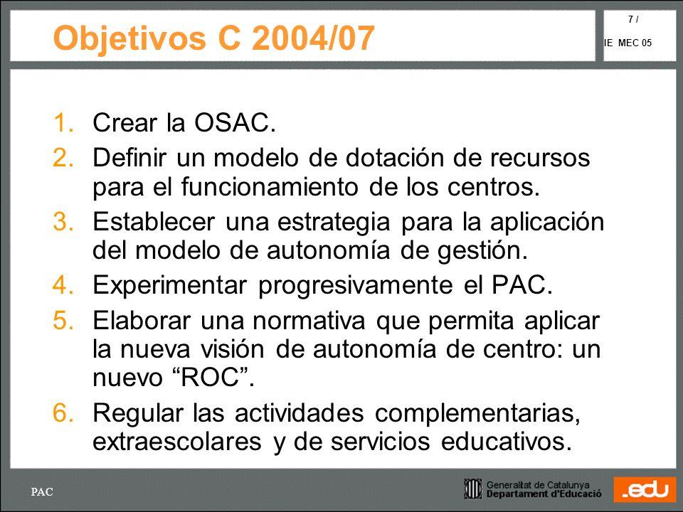 PAC IE MEC 05 7 / Objetivos C 2004/07 1. Crear la OSAC. 2. Definir un modelo de dotación de recursos para el funcionamiento de los centros. 3.Establec