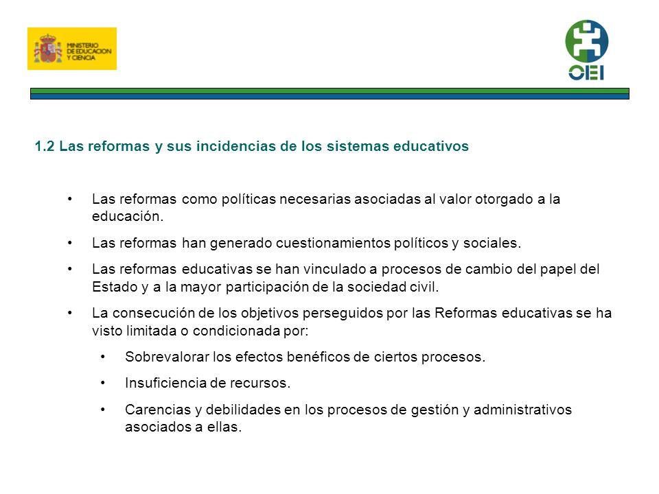 1.2 Las reformas y sus incidencias de los sistemas educativos Las reformas como políticas necesarias asociadas al valor otorgado a la educación.