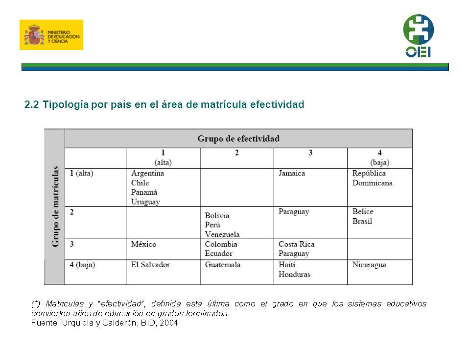 2.2 Tipología por país en el área de matrícula efectividad