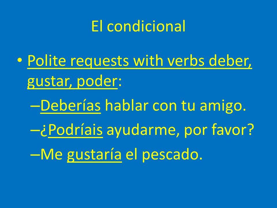El condicional Polite requests with verbs deber, gustar, poder: – Deberías hablar con tu amigo.