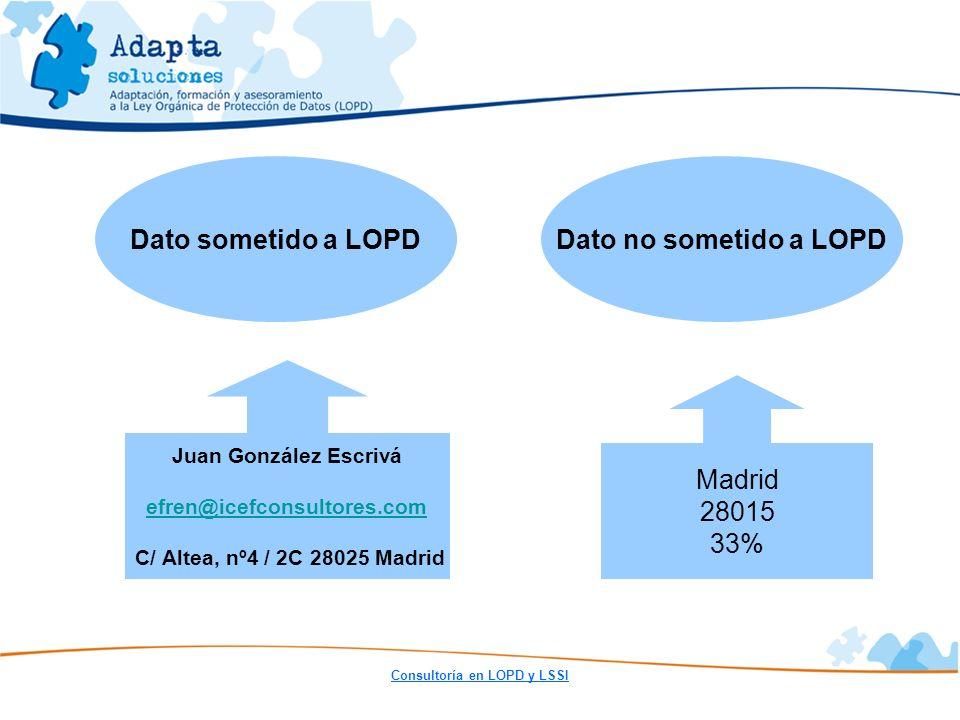 Consultoría en LOPD y LSSI Dato no sometido a LOPDDato sometido a LOPD Madrid 28015 33% Juan González Escrivá efren@icefconsultores.com C/ Altea, nº4
