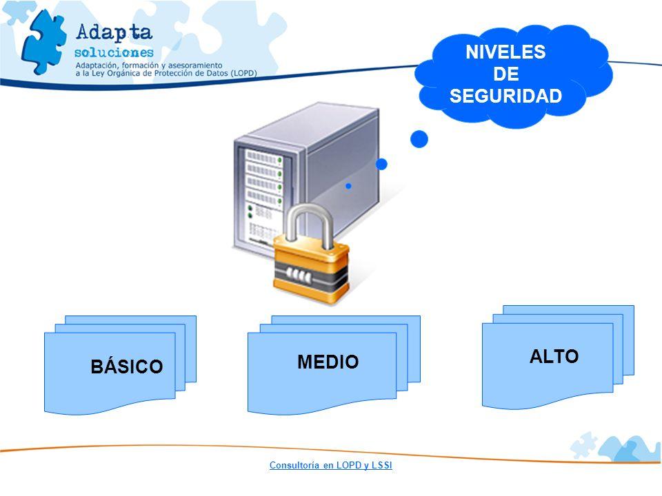 Consultoría en LOPD y LSSI NIVELES DE SEGURIDAD MEDIO ALTO BÁSICO