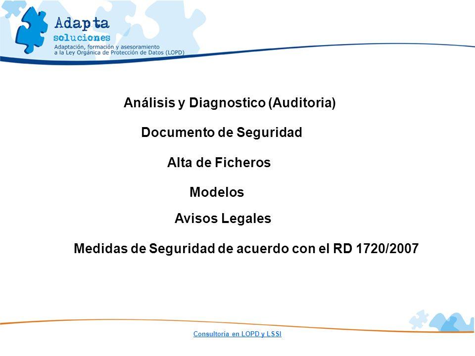 Análisis y Diagnostico (Auditoria) Documento de Seguridad Alta de Ficheros Modelos Avisos Legales Medidas de Seguridad de acuerdo con el RD 1720/2007