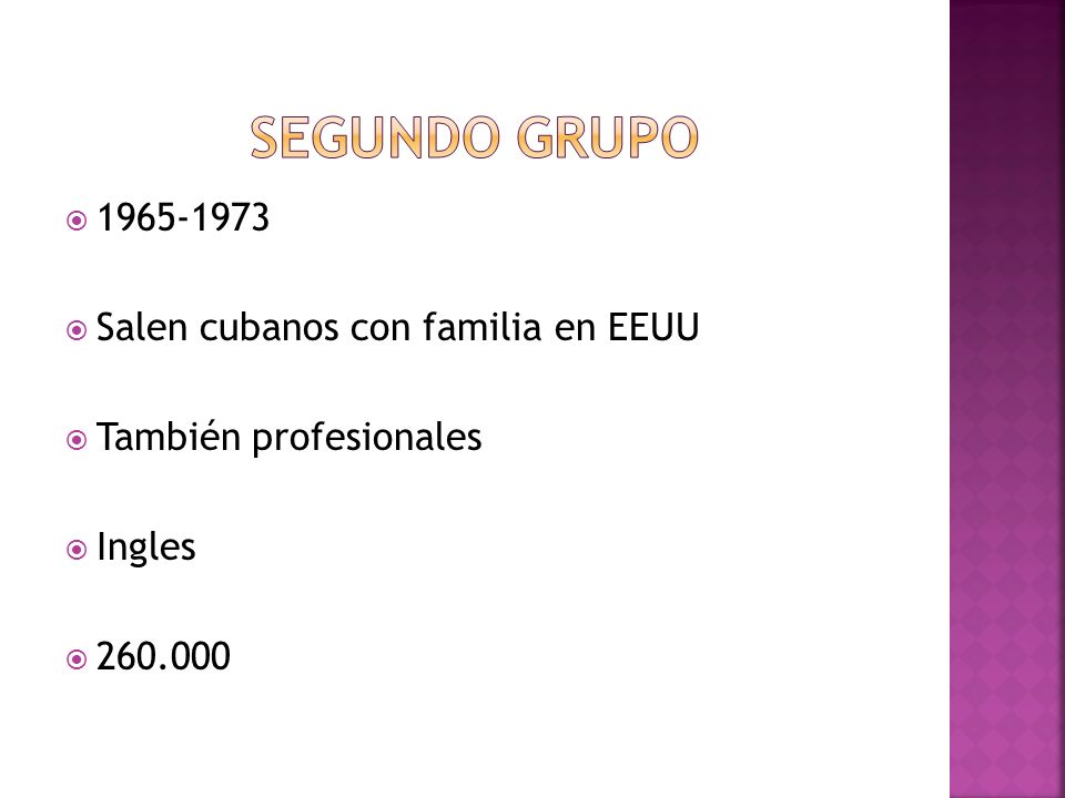 1965-1973 Salen cubanos con familia en EEUU También profesionales Ingles 260.000