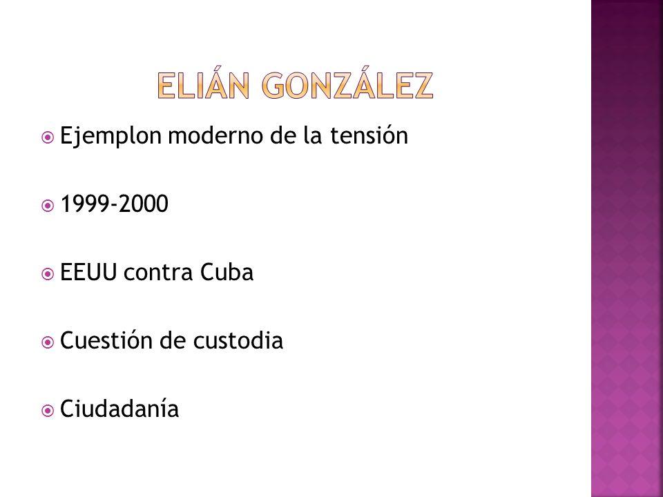 Ejemplon moderno de la tensión 1999-2000 EEUU contra Cuba Cuestión de custodia Ciudadanía