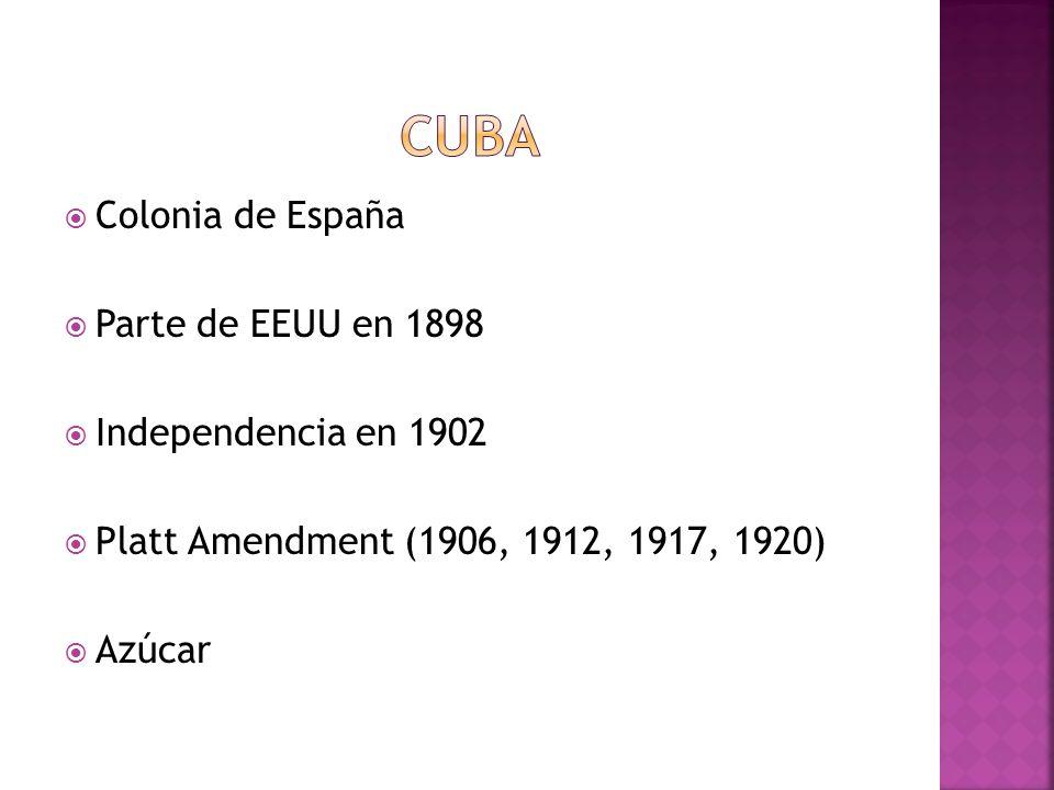 Colonia de España Parte de EEUU en 1898 Independencia en 1902 Platt Amendment (1906, 1912, 1917, 1920) Azúcar