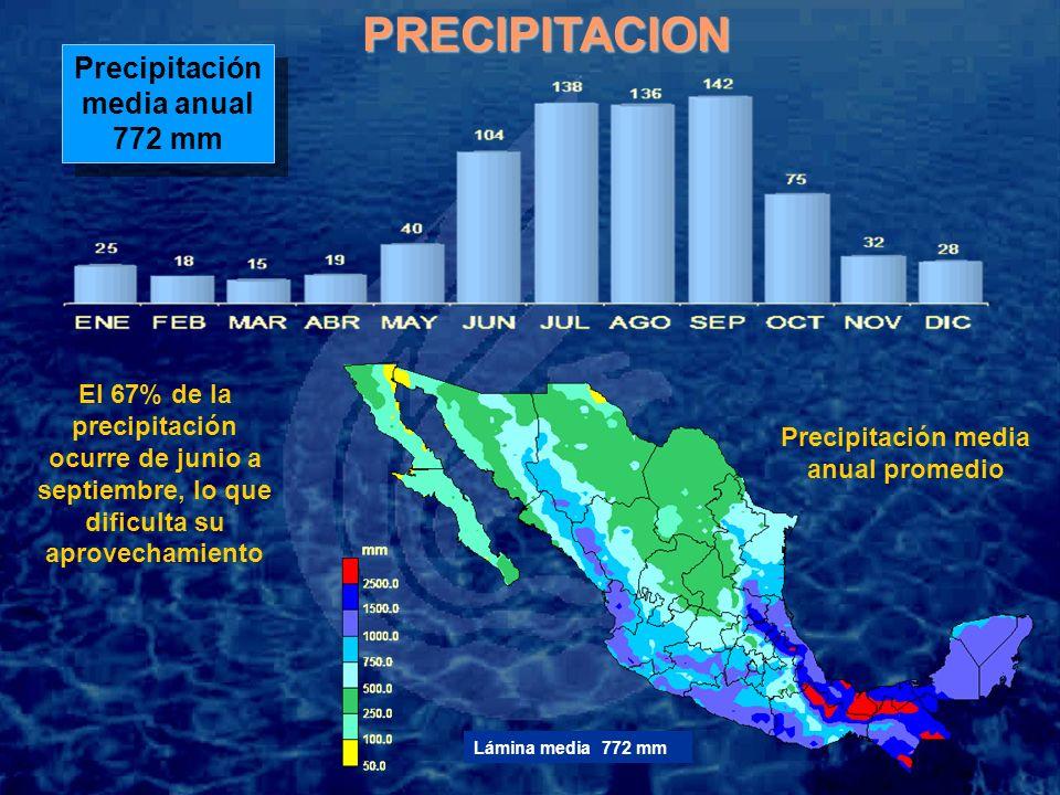 Precipitación media anual 772 mm Precipitación media anual 772 mm El 67% de la precipitación ocurre de junio a septiembre, lo que dificulta su aprovechamiento Precipitación media anual promedioPRECIPITACION Lámina media 772 mm