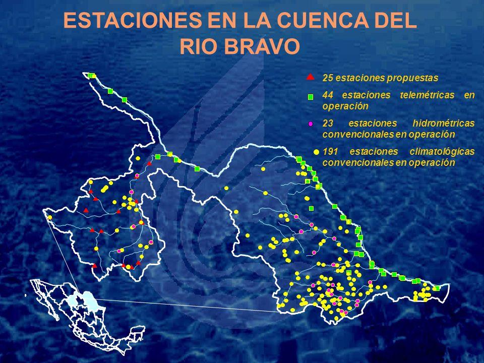 ESTACIONES EN LA CUENCA DEL RIO BRAVO 25 estaciones propuestas 44 estaciones telemétricas en operación 23 estaciones hidrométricas convencionales en operación 191 estaciones climatológicas convencionales en operación