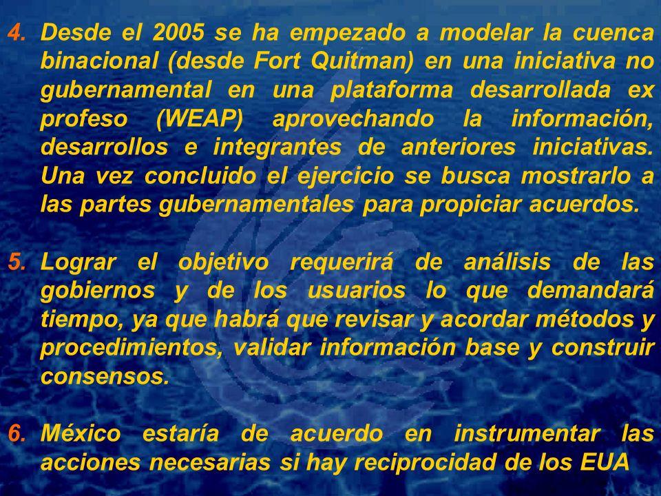 4. 4.Desde el 2005 se ha empezado a modelar la cuenca binacional (desde Fort Quitman) en una iniciativa no gubernamental en una plataforma desarrollad