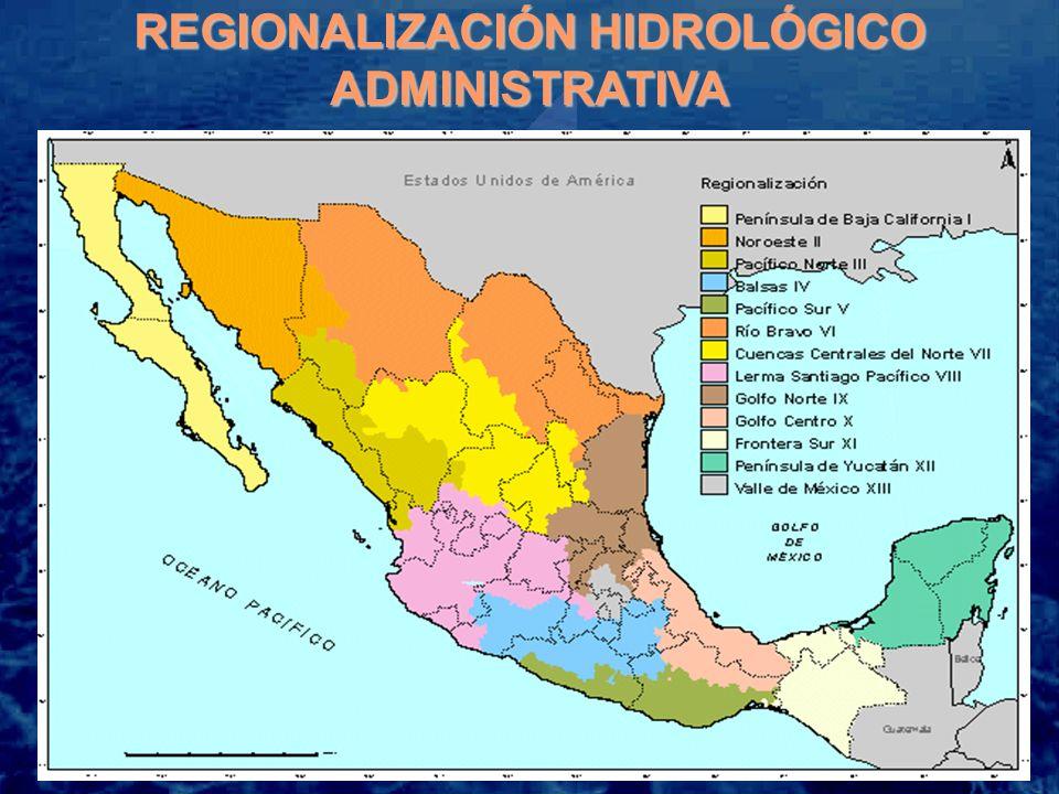 Región Administrativa Precipitación media histórica[1][1] Disponibilidad natural base media[2][2] Disponibilidad natural base media per.-cápita Escurrimiento superficial virgen medio[3][3] Recarga media de acuíferos[4][4] Extracción total bruta de agua[5][5] (1941-2002)(población 2003) (2001) (mm)(hm 3 )(m 3 /hab)(hm 3 ) IPenínsula de Baja California198 4 423 1 336 3 012 1 411 4 444 IINoroeste462 8 214 3 236 5 459 2 755 6 342 IIIPacífico Norte765 24 741 6 035 22 160 2 581 8 321 IVBalsas965 28 909 2 713 24 944 3 965 6 435 VPacífico Sur1 300 33 177 7 963 31 468 1 709 1 433 VIRío Bravo408 13 718 1 324 8 499 5 219 7 352 VIICuencas Centrales del Norte389 6 836 1 729 4 729 2 107 7 252 VIIILerma-Santiago-Pacífico853 39 680 1 962 32 370 7 310 15 200 IXGolfo Norte813 23 347 4 685 22 070 1 277 5 409 XGolfo Centro1 902 102 546 10 604 98 930 3 616 3 901 XIFrontera Sur2 264 157 999 24 674 139 578 18 421 1 537 XIIPenínsula de Yucatán1 153 29 063 8 178 3 747 25 316 1 815 XIIIValle de México730 3 803182 1 996 1 807 4 846 Nacional771476 4564 547398 96277 49474 287 [1][1] Registro de la USMN.