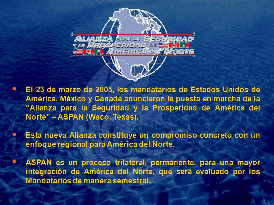 El 23 de marzo de 2005, los mandatarios de Estados Unidos de América, México y Canadá anunciaron la puesta en marcha de la Alianza para la Seguridad y la Prosperidad de América del Norte – ASPAN (Waco, Texas).
