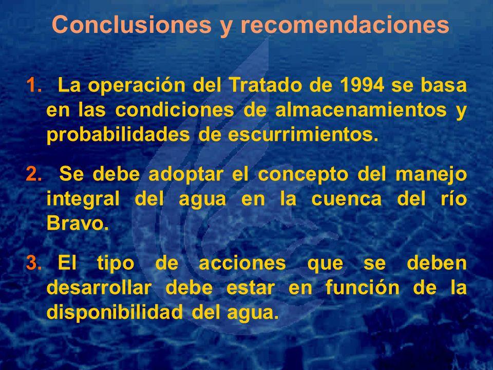 1. La operación del Tratado de 1994 se basa en las condiciones de almacenamientos y probabilidades de escurrimientos. 2. Se debe adoptar el concepto d