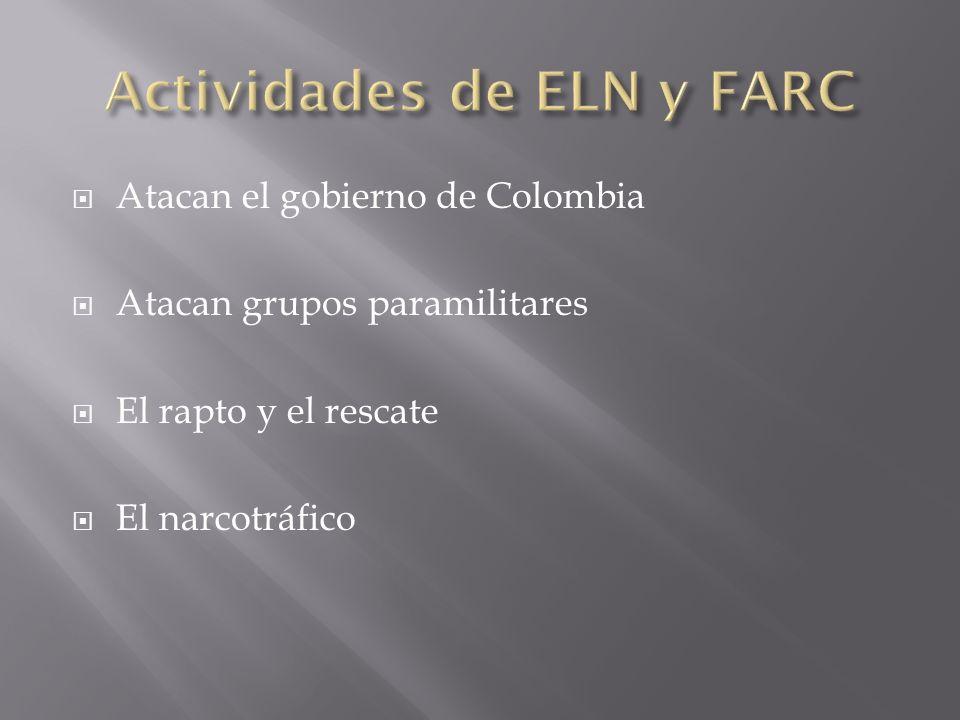 Atacan el gobierno de Colombia Atacan grupos paramilitares El rapto y el rescate El narcotráfico