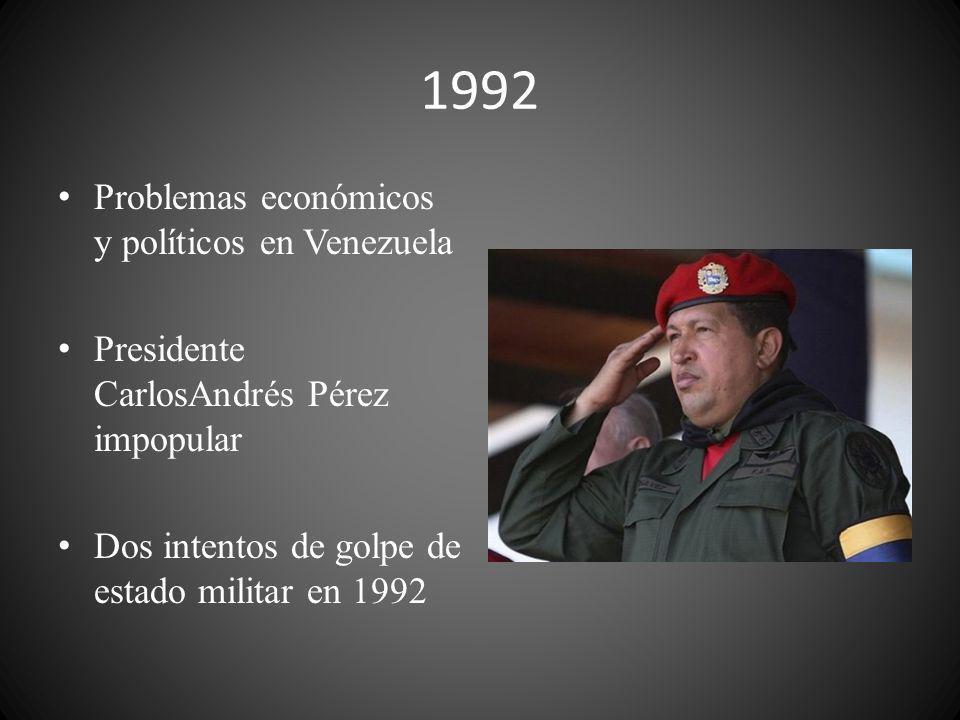 1992 Problemas económicos y políticos en Venezuela Presidente CarlosAndrés Pérez impopular Dos intentos de golpe de estado militar en 1992
