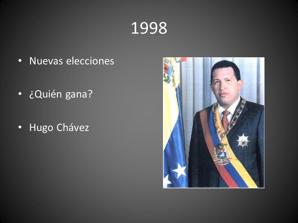 1998 Nuevas elecciones ¿Quién gana? Hugo Chávez