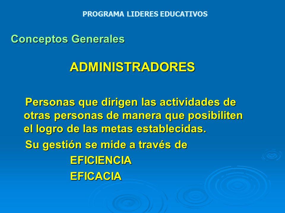 Conceptos Generales ADMINISTRADORES HABILIDADES CONCEPTUALESHUMANASTECNICAS PROGRAMA LIDERES EDUCATIVOS