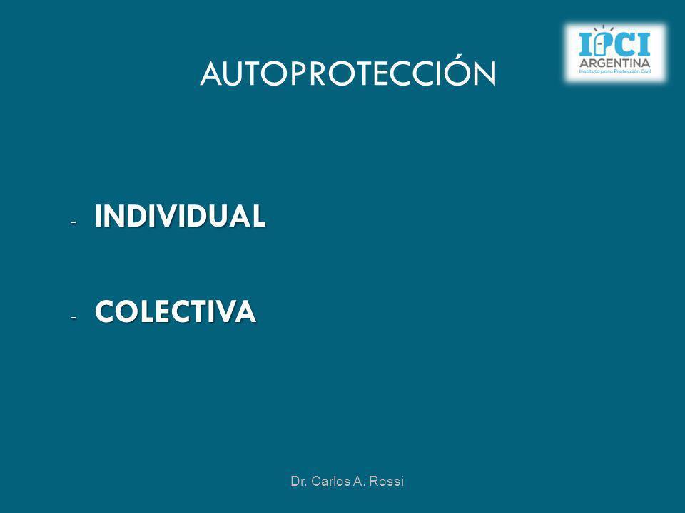 AUTOPROTECCIÓN - INDIVIDUAL - COLECTIVA Dr. Carlos A. Rossi