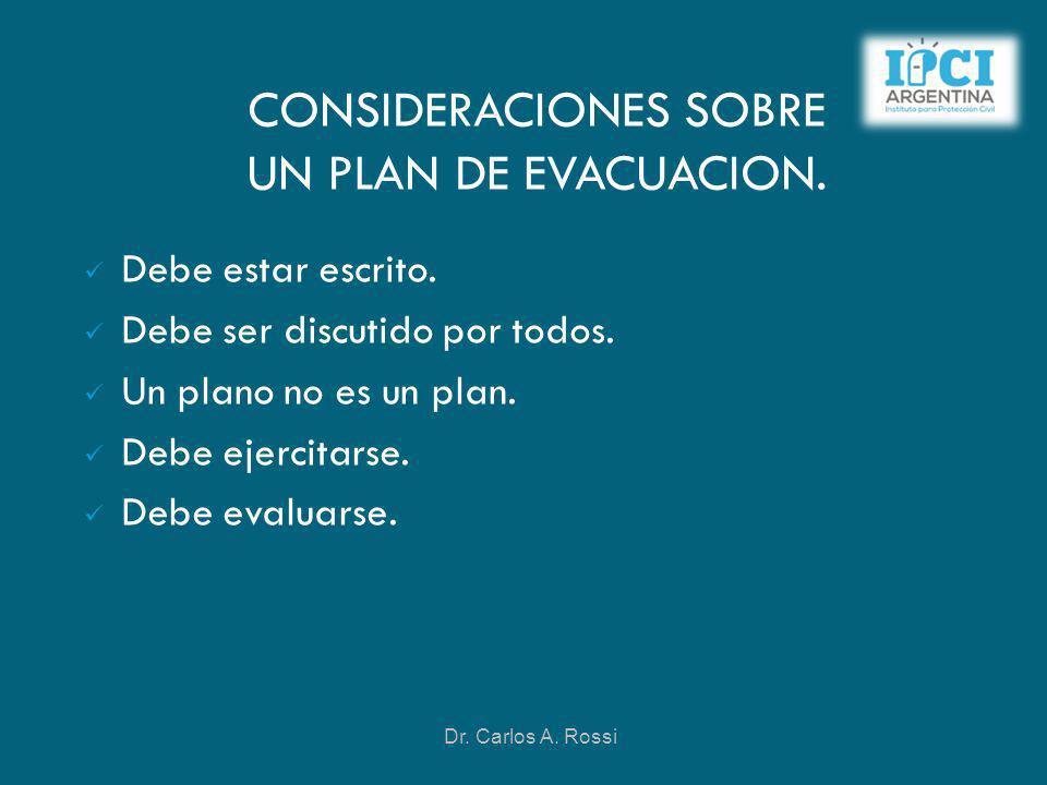 CONSIDERACIONES SOBRE UN PLAN DE EVACUACION. Debe estar escrito. Debe ser discutido por todos. Un plano no es un plan. Debe ejercitarse. Debe evaluars