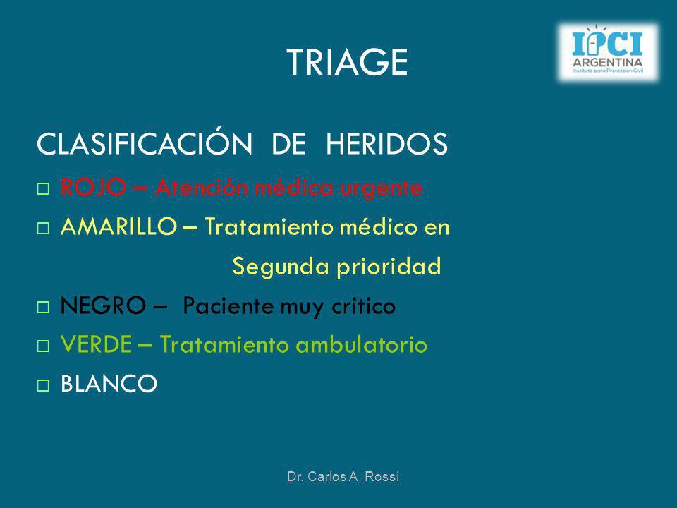 TRIAGE CLASIFICACIÓN DE HERIDOS ROJO – Atención médica urgente AMARILLO – Tratamiento médico en Segunda prioridad NEGRO – Paciente muy critico VERDE –