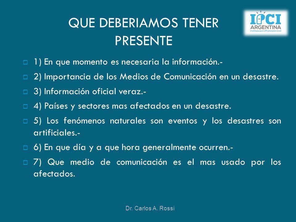 QUE DEBERIAMOS TENER PRESENTE 1) En que momento es necesaria la información.- 2) Importancia de los Medios de Comunicación en un desastre. 3) Informac