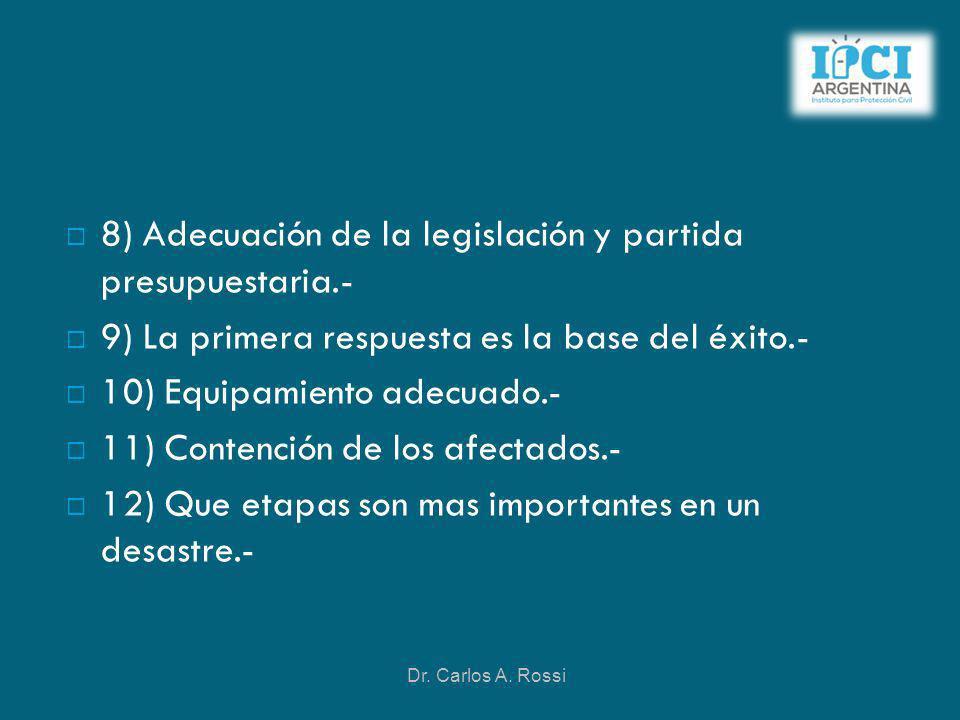 8) Adecuación de la legislación y partida presupuestaria.- 9) La primera respuesta es la base del éxito.- 10) Equipamiento adecuado.- 11) Contención d