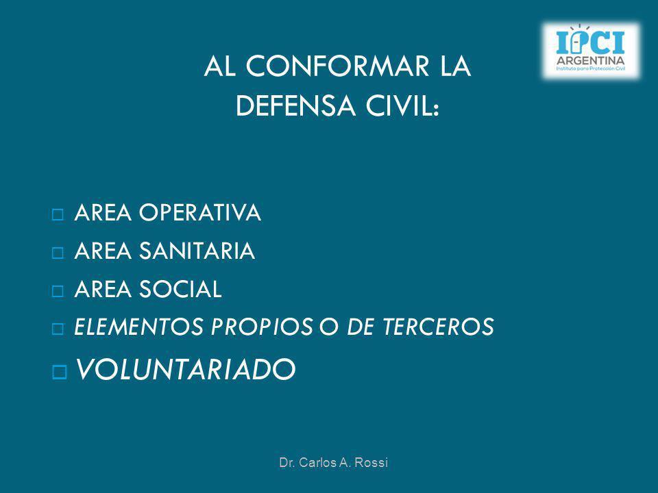 AL CONFORMAR LA DEFENSA CIVIL: AREA OPERATIVA AREA SANITARIA AREA SOCIAL ELEMENTOS PROPIOS O DE TERCEROS VOLUNTARIADO Dr. Carlos A. Rossi