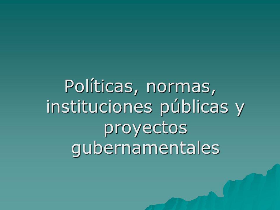 Políticas, normas, instituciones públicas y proyectos gubernamentales