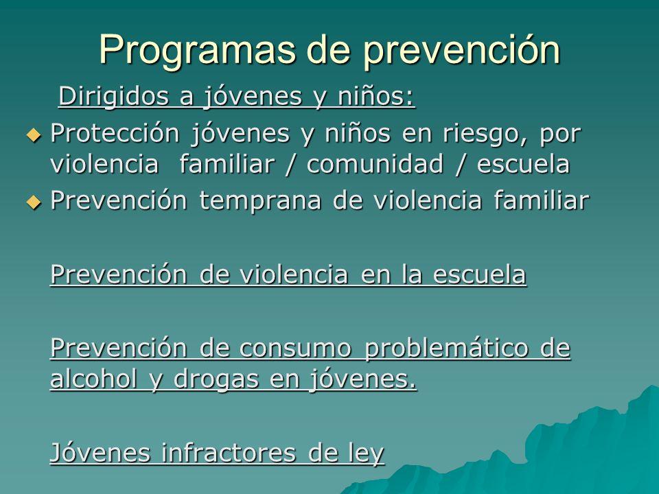 Programas de prevención Dirigidos a jóvenes y niños: Protección jóvenes y niños en riesgo, por violencia familiar / comunidad / escuela Protección jóv