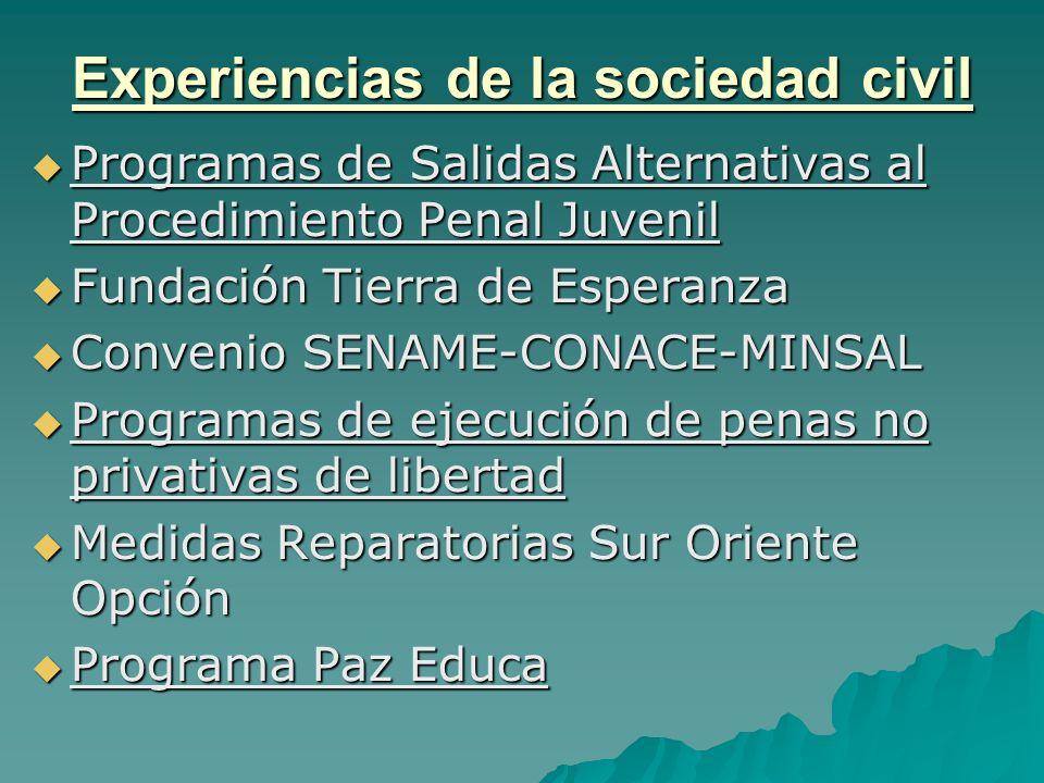 Experiencias de la sociedad civil Programas de Salidas Alternativas al Procedimiento Penal Juvenil Programas de Salidas Alternativas al Procedimiento