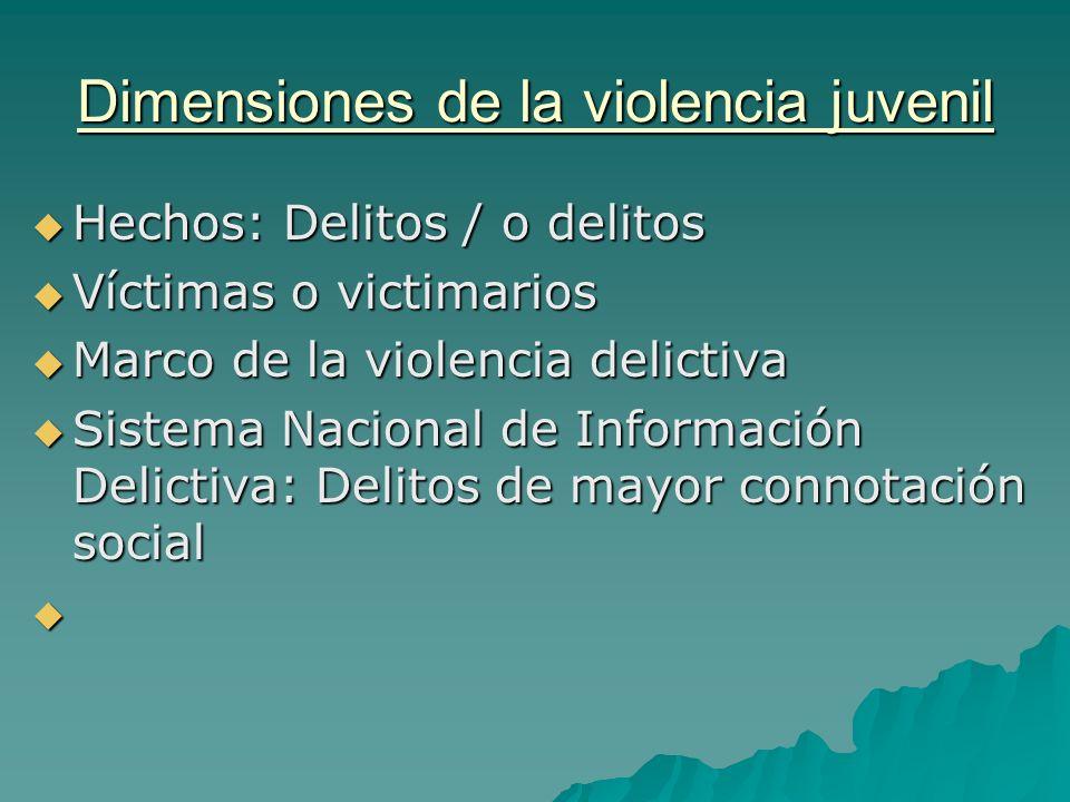 Dimensiones de la violencia juvenil Hechos: Delitos / o delitos Hechos: Delitos / o delitos Víctimas o victimarios Víctimas o victimarios Marco de la