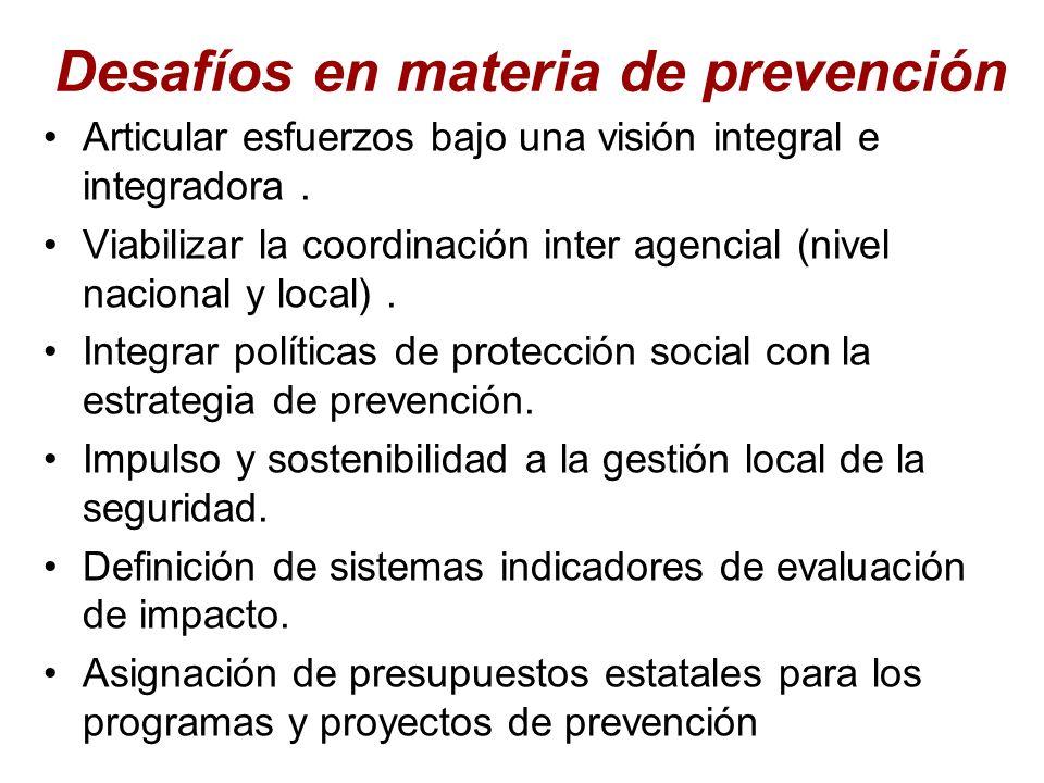 Desafíos en materia de prevención Articular esfuerzos bajo una visión integral e integradora. Viabilizar la coordinación inter agencial (nivel naciona