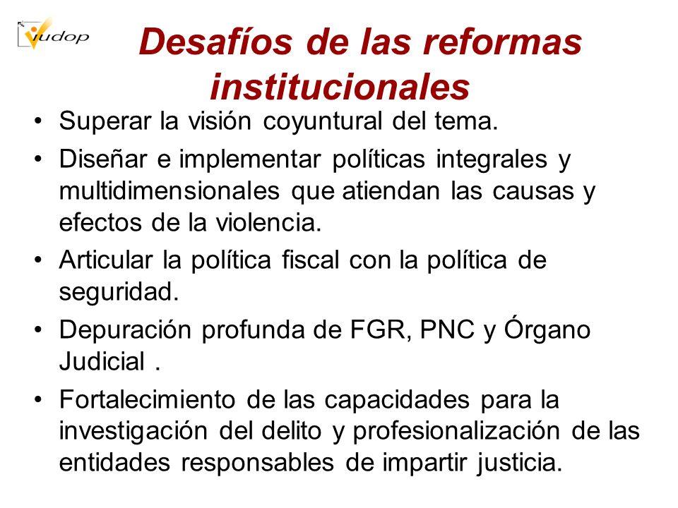 Desafíos de las reformas institucionales Superar la visión coyuntural del tema. Diseñar e implementar políticas integrales y multidimensionales que at