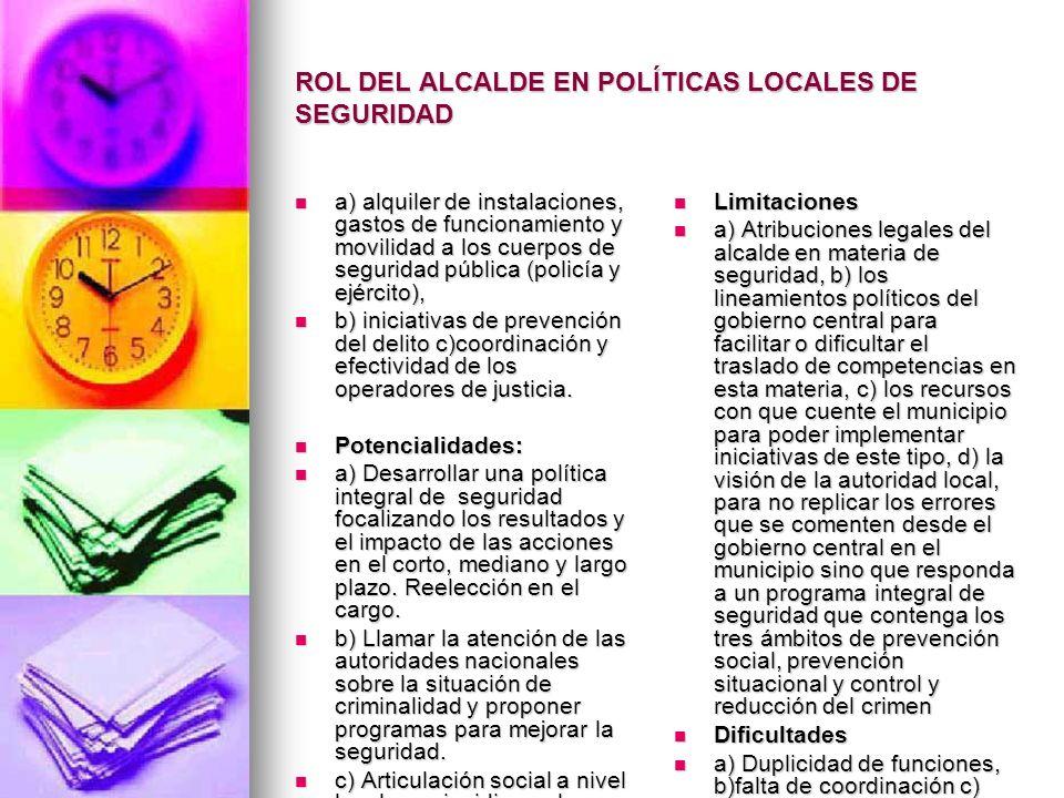 ROL DEL ALCALDE EN POLÍTICAS LOCALES DE SEGURIDAD a) alquiler de instalaciones, gastos de funcionamiento y movilidad a los cuerpos de seguridad públic