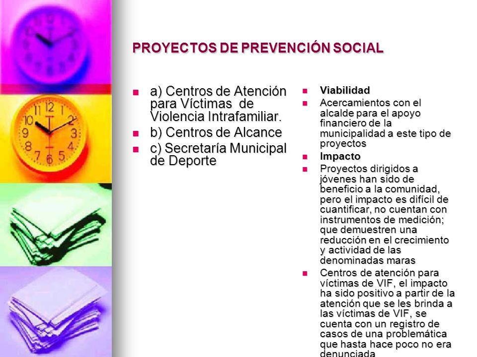 PROYECTOS DE PREVENCIÓN SOCIAL a) Centros de Atención para Víctimas de Violencia Intrafamiliar. a) Centros de Atención para Víctimas de Violencia Intr