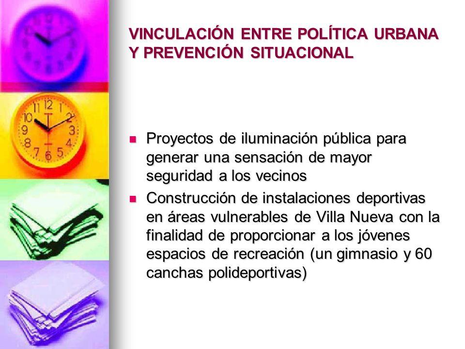 VINCULACIÓN ENTRE POLÍTICA URBANA Y PREVENCIÓN SITUACIONAL Proyectos de iluminación pública para generar una sensación de mayor seguridad a los vecino