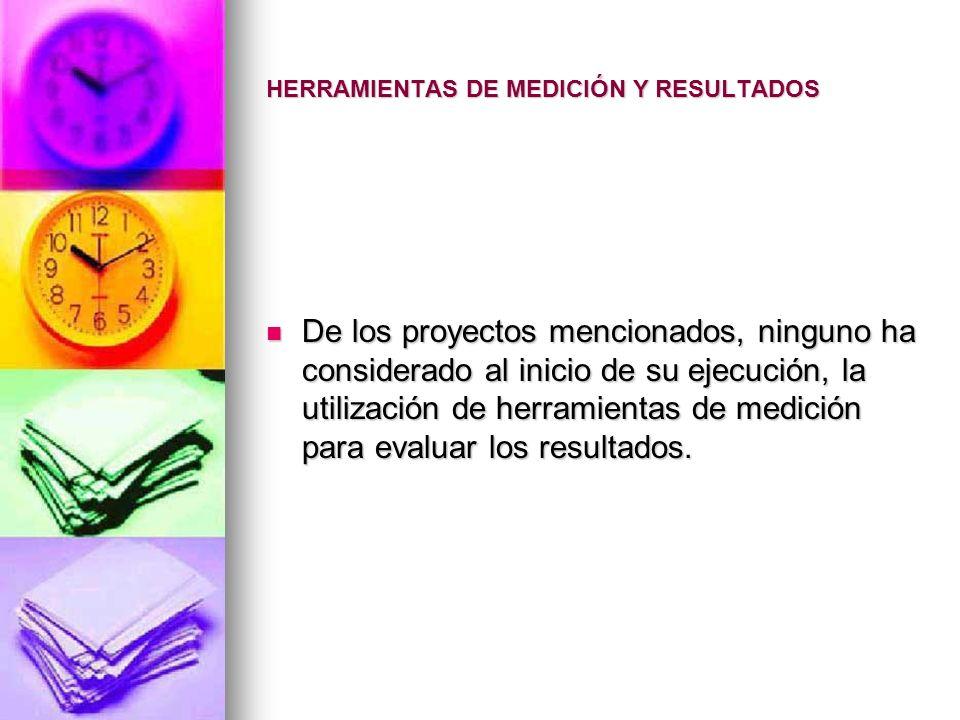 HERRAMIENTAS DE MEDICIÓN Y RESULTADOS De los proyectos mencionados, ninguno ha considerado al inicio de su ejecución, la utilización de herramientas d