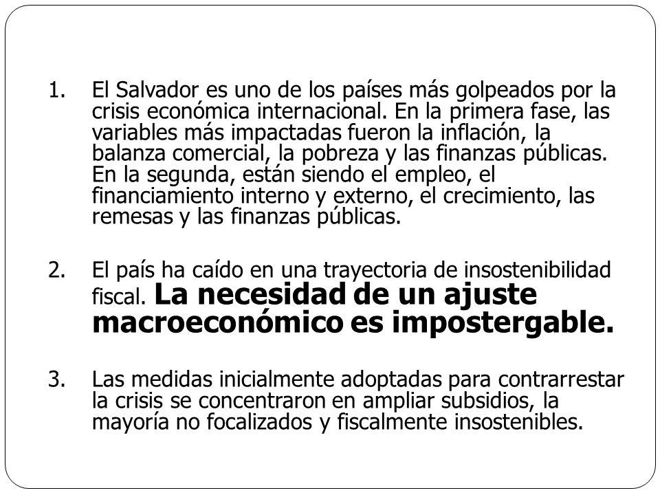 1.El Salvador es uno de los países más golpeados por la crisis económica internacional. En la primera fase, las variables más impactadas fueron la inf
