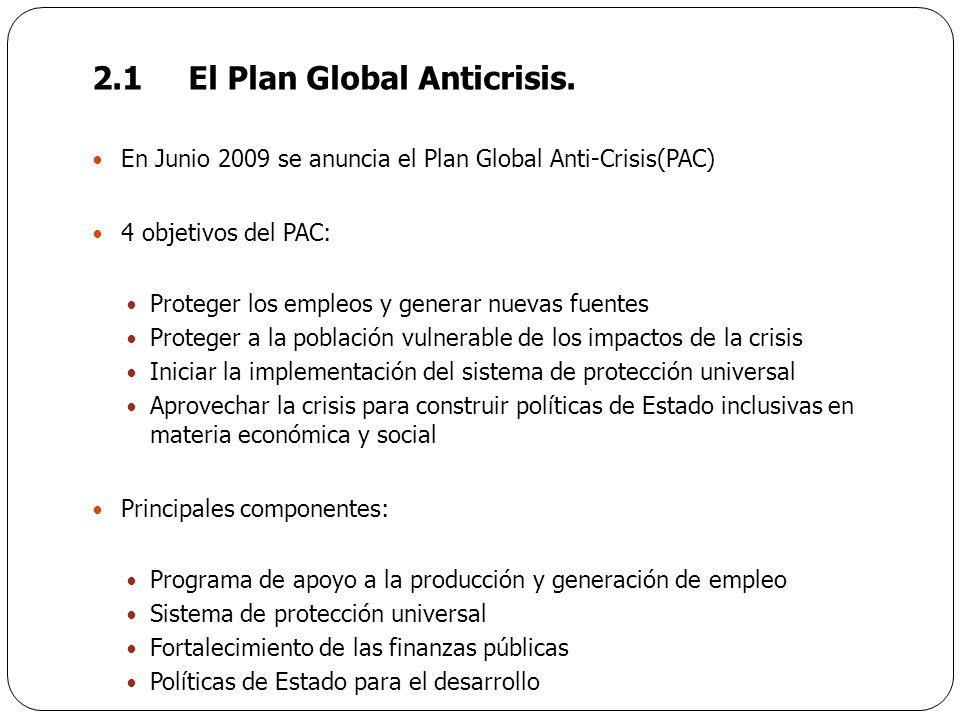 2.1El Plan Global Anticrisis. En Junio 2009 se anuncia el Plan Global Anti-Crisis(PAC) 4 objetivos del PAC: Proteger los empleos y generar nuevas fuen
