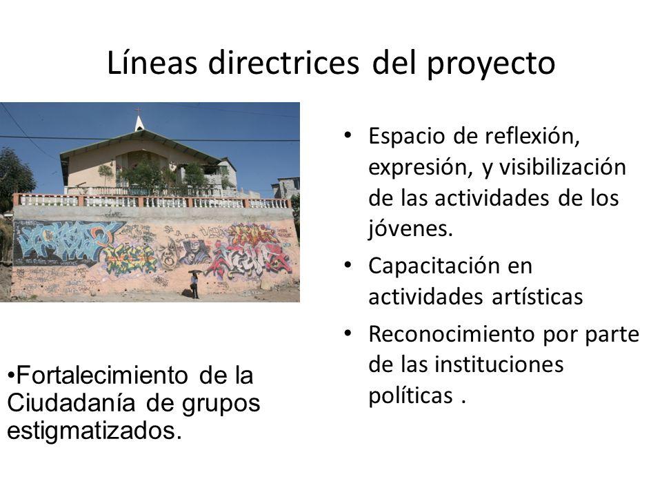Líneas directrices del proyecto Espacio de reflexión, expresión, y visibilización de las actividades de los jóvenes. Capacitación en actividades artís