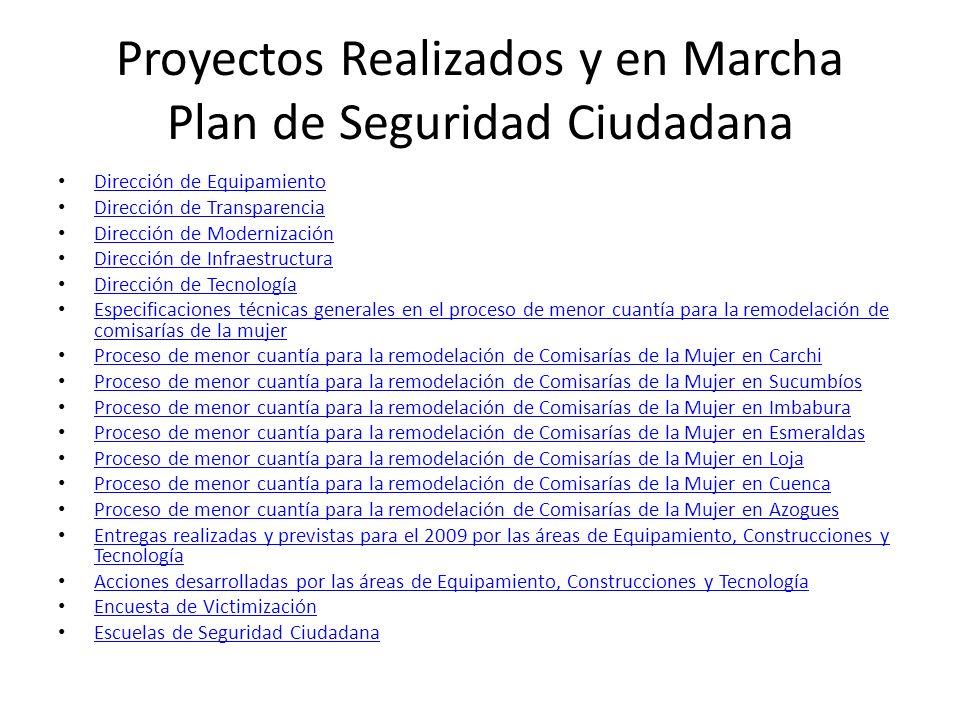 Proyectos Realizados y en Marcha Plan de Seguridad Ciudadana Dirección de Equipamiento Dirección de Transparencia Dirección de Modernización Dirección