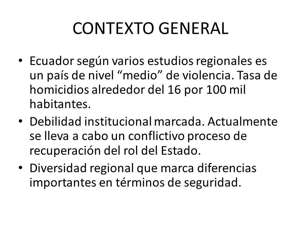 CONTEXTO GENERAL Ecuador según varios estudios regionales es un país de nivel medio de violencia. Tasa de homicidios alrededor del 16 por 100 mil habi