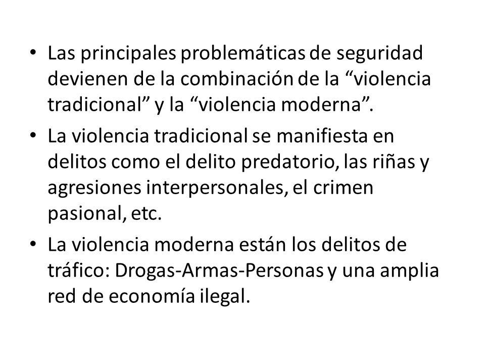 Las principales problemáticas de seguridad devienen de la combinación de la violencia tradicional y la violencia moderna. La violencia tradicional se