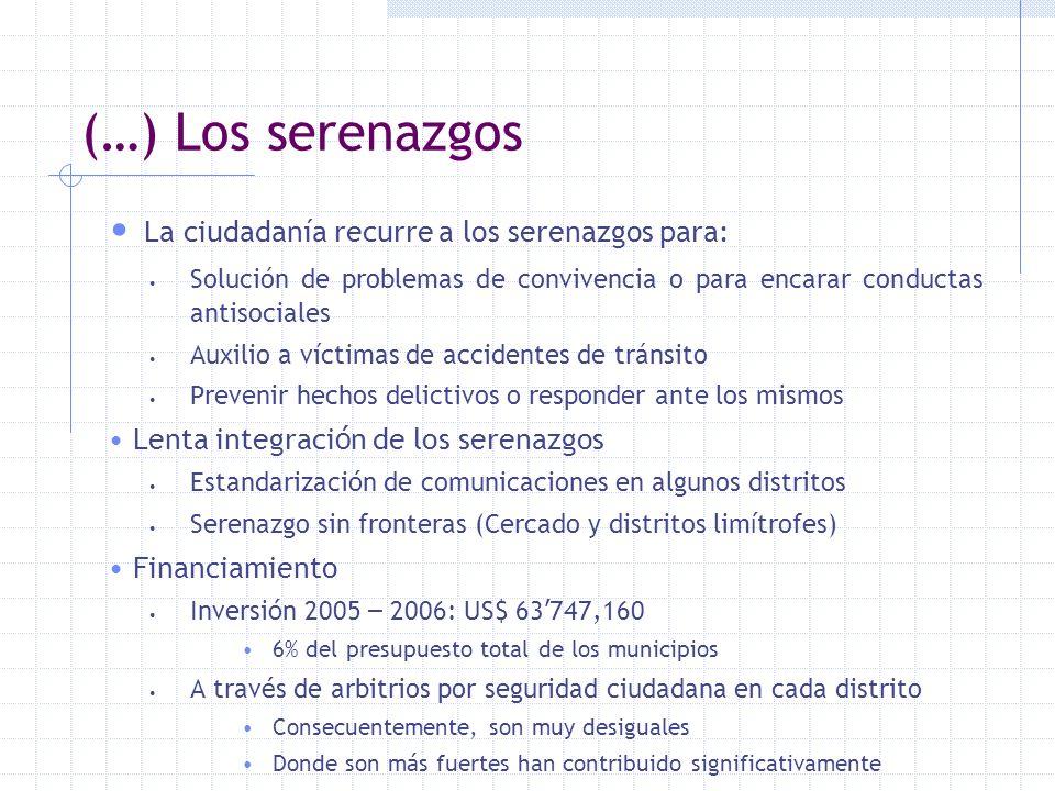 (…) Los serenazgos La ciudadanía recurre a los serenazgos para: Solución de problemas de convivencia o para encarar conductas antisociales Auxilio a v