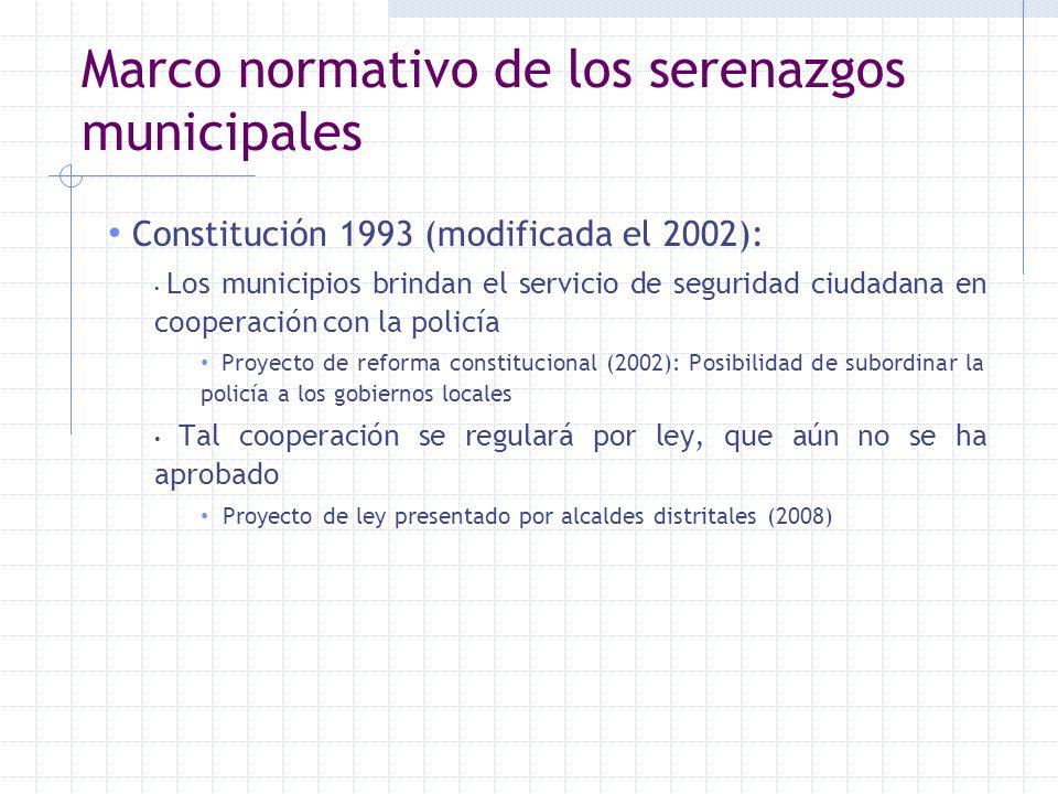 Marco normativo de los serenazgos municipales Constitución 1993 (modificada el 2002): Los municipios brindan el servicio de seguridad ciudadana en coo