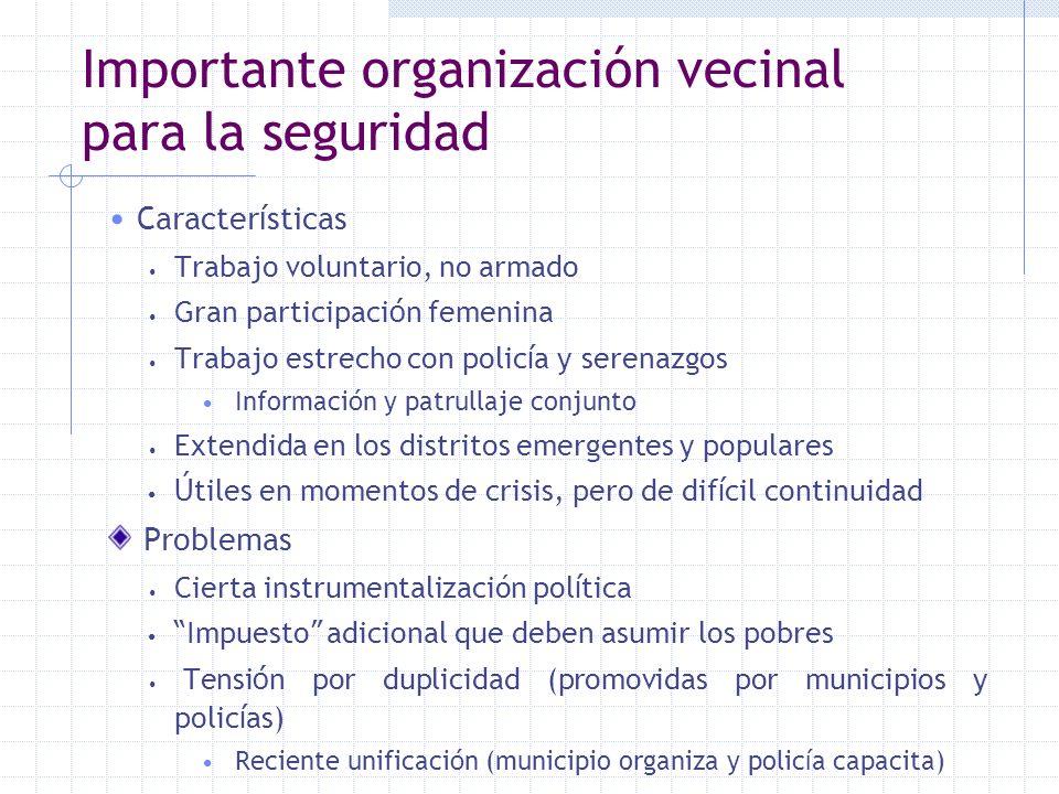 Importante organización vecinal para la seguridad Caracter í sticas Trabajo voluntario, no armado Gran participaci ó n femenina Trabajo estrecho con p