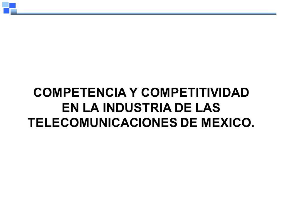 COMPETENCIA Y COMPETITIVIDAD EN LA INDUSTRIA DE LAS TELECOMUNICACIONES DE MEXICO.