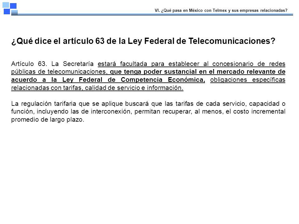 ¿Qué dice el artículo 63 de la Ley Federal de Telecomunicaciones.
