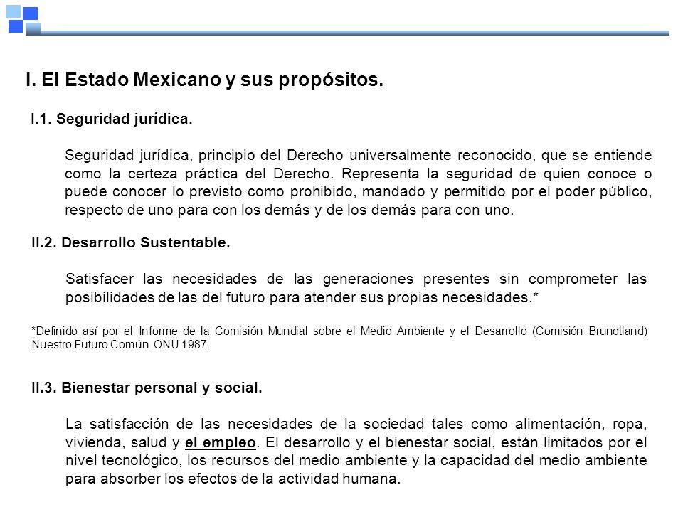 I. El Estado Mexicano y sus propósitos. I.1. Seguridad jurídica.